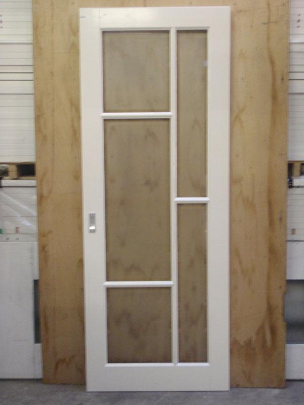 Binnendeuren paneeldeur 88x231 5 stomp incl mat facet glas for Norhtgo deuren